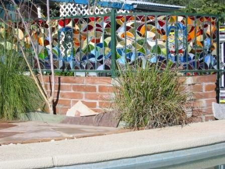 Tio's Stained Glass Fence- do you think they teach this in Stained glass 101?