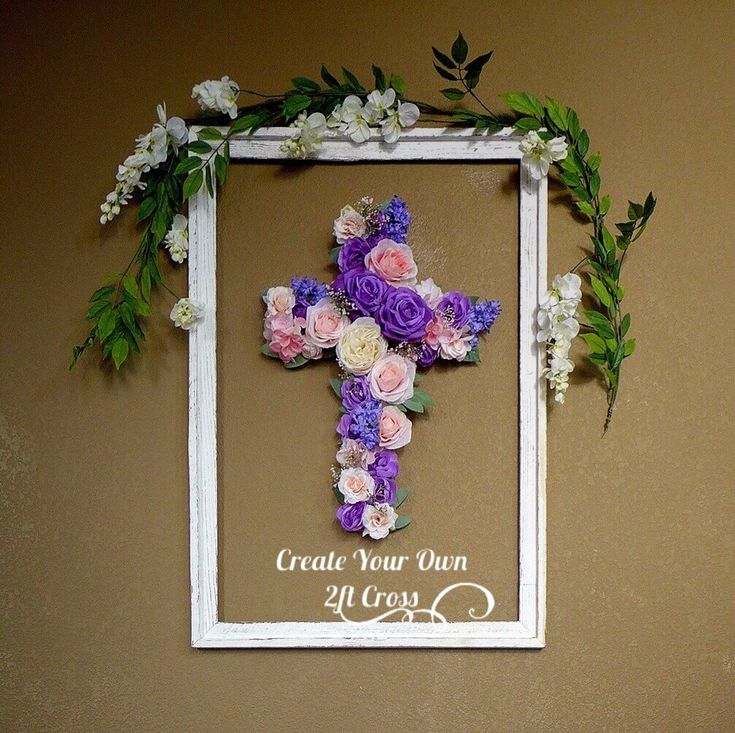 74 best baptism wall cross girl images on pinterest easter decorations easter decor easter decor ideas easter gift floral wall cross negle Images