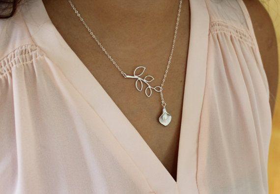 Collar Lariat de hoja lirio colgante joyería de la por LadyKJewelry