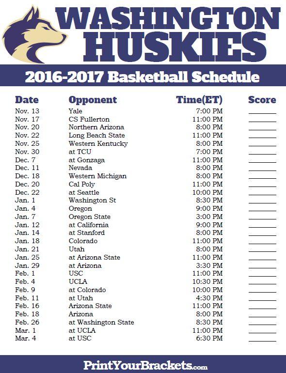 Washington Huskies 2016-2017 College Basketball Schedule