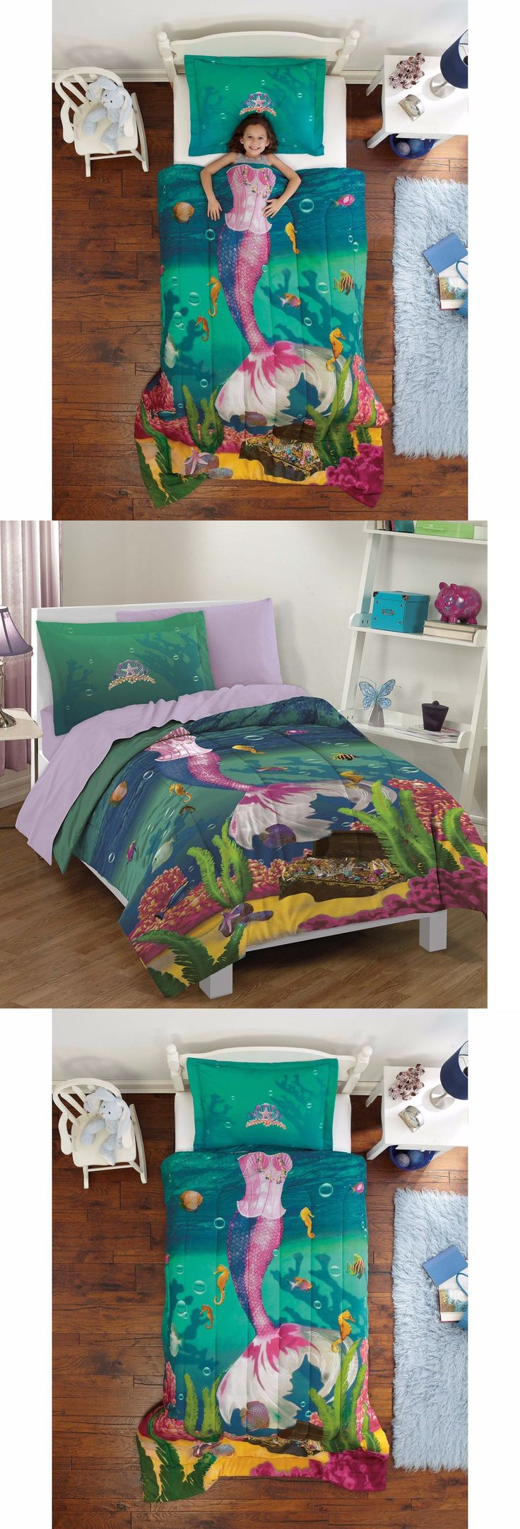 Kids at Home: Kids Comforter Set For Girls Twin Mermaid Sea Princess Ocean Bed Bedding Sham BUY IT NOW ONLY: $45.95