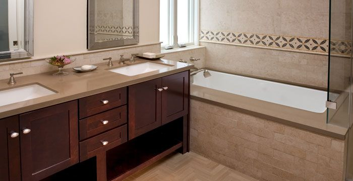Mocha 2370 caesarstone would look great with dark cabinets and travertine floors kitchen for Are quartz countertops good for bathrooms