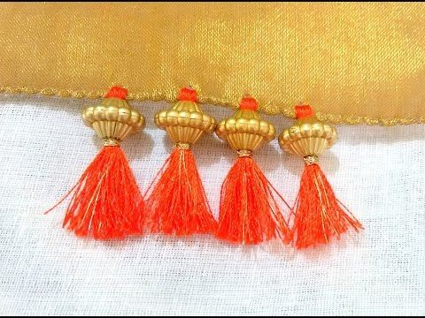 How to do Krosha / Crochet Saree Tassels using Silk Thread with Beads and Kuchu at Home | Tutorial ! - YouTube