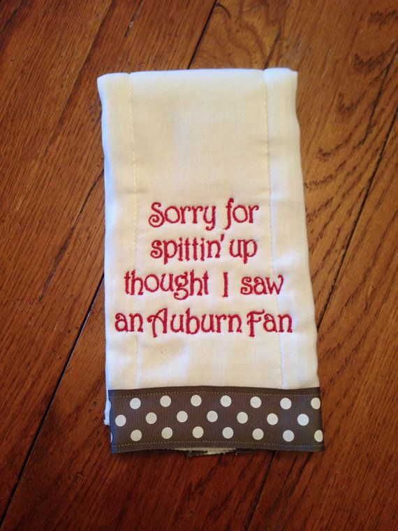 Alabama burpcloth/Spittin on Auburn/shower gift/baby gift/boy or girl baby gift on Etsy, $10.00