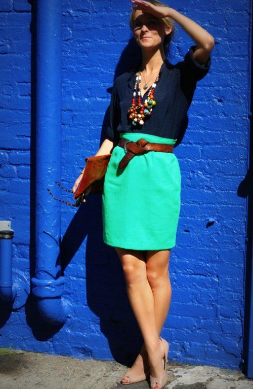 turquoise + navy blue.