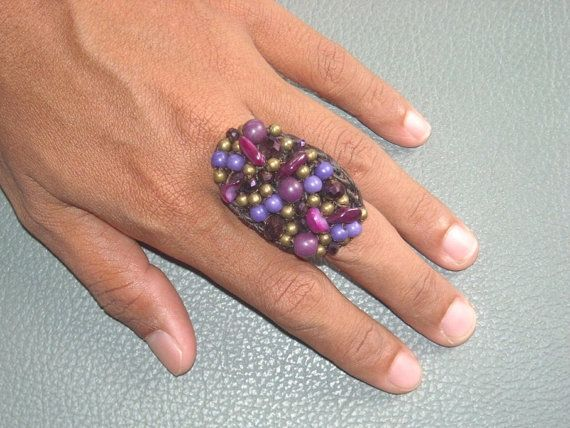 MACRAME Beaded oval Ring with range of PURPLES by ExtravaganzaBali