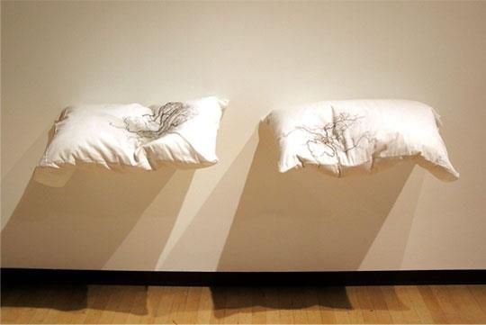 """Artist:Jenine Shereos Anatomy of Dreaming Anatomy of Dreaming, pillows and thread, 30"""" x 15"""" x 4"""" each, 2006"""