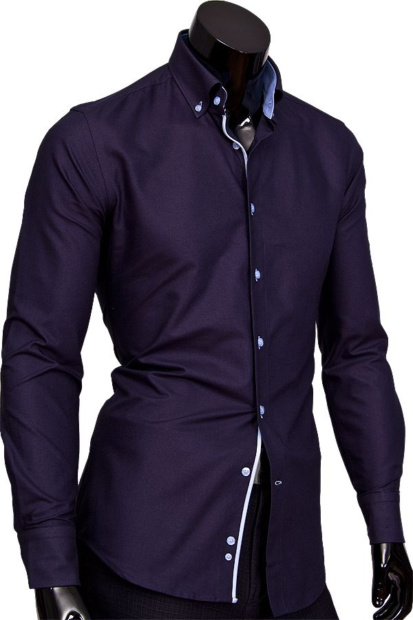 8d7ccbc49bcc1d0 Купить Темно синяя приталенная мужская рубашка недорого в Москве ...