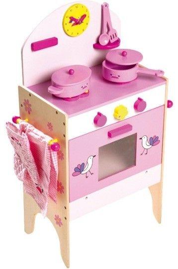 Houten keuken met accessoires uitgevoert in een geweldig mooie roze kleur. Zelfs de vlammen voor de gasoven worden meegeleverd. Mooi kinderfornuis met 8-stuks accessoires: pan & schotel braadpan met deksel, oven handschoen, theedoek en 2 keuken hulpverleners. Het heeft ook een sterk magnetisch slot op het deksel, evenals een leer klok! Afmetingen ca. 70 x 37 x 23 cm Leeftijd > 2,5  Een perfecte mix met dezeetenswaren(klik op de link) - Base Toys houten kinderkeuken met Accessoires