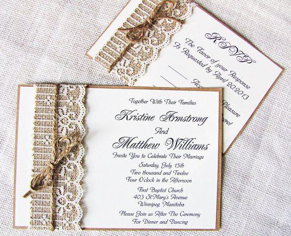 Lace Burlap Wedding Invitation Suite Rustic by LoveofCreating