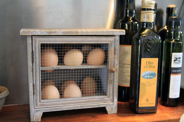 "Possibly the cutest egg storage I've ever seen. Quote from the photo: ""Like in most kitchens outside the U.S., (they) keep their eggs on the counter, not in the refrigerator."""