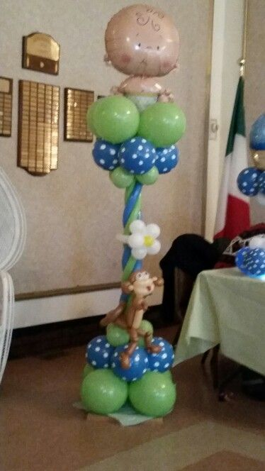 16 best images about baby shower balloon decorations on pinterest columns pacifiers and monkey - Monkey balloons for baby shower ...