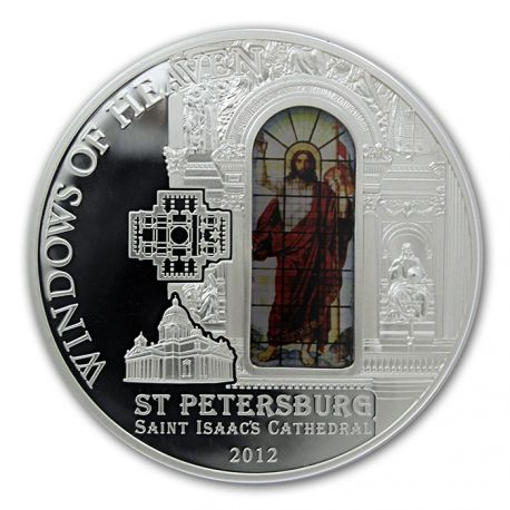 2012 Cook Islands 50 gr $10 silver coin - Windows of Heaven: Saint Petersburg, Saint Isaac's Cathedral (stained glass insert).