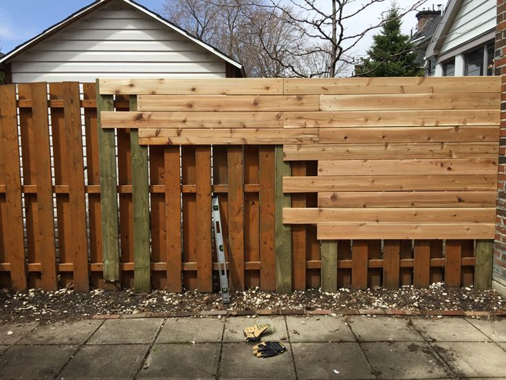 Before (left) and after (right). The covered up part could also be recycled pallets, if starting from scratch. Then add a weathered trim on top to hide the pallets. If using pallets, cover both sides to hide  the core pallet structure .