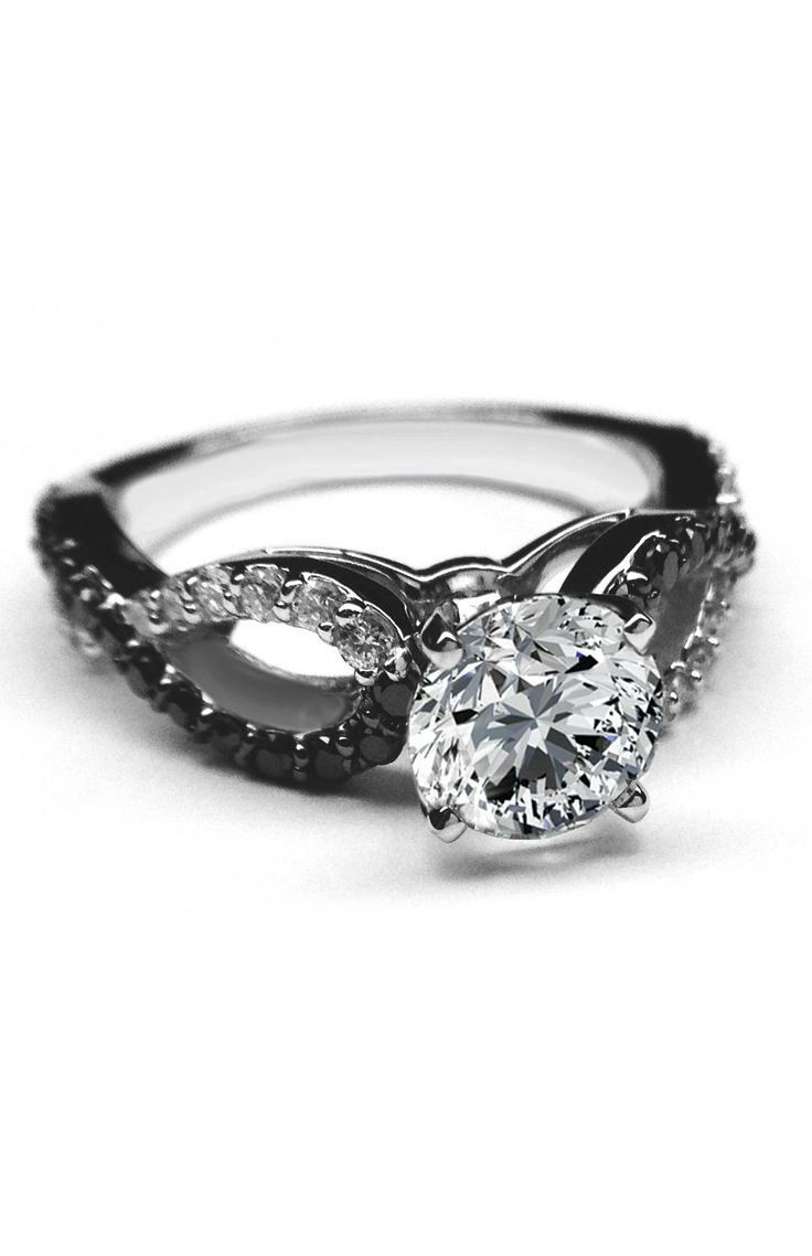 Black & White Round Diamond Engagement Ring Infinity Diamonds Band In 14k  White Gold