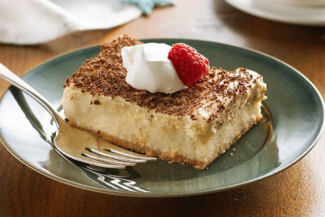 Dessert faves from France (mousse), Italy (tiramisu) and the USA (cheesecake) collide in one spectacularly creamy treat you serve up with a berry.
