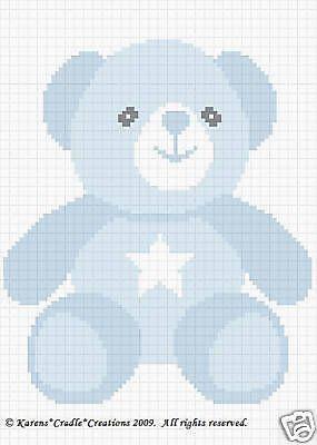TEDDY BOY BEAR Color Graph Baby Afghan Pattern *EASY
