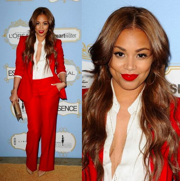 Love this rich color / tailored look / red lip Lauren London