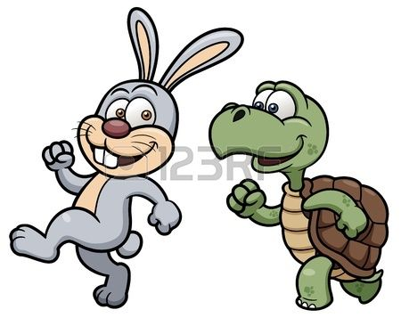 illustratie van Cartoon konijn en schildpad Stockfoto