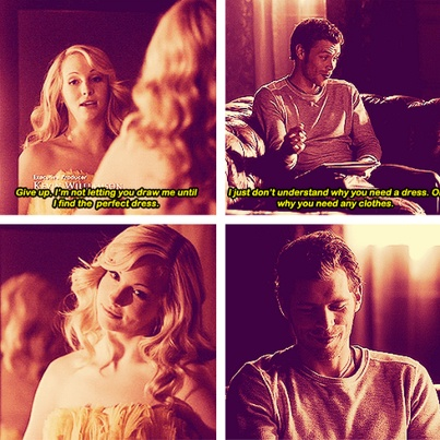 Not a true scene but still hilarious..lol! Here Caroline was getting ready to attend a mystic falls founders event which Damon compelles her to take him to in Season 1. She is talking to Damon here while decideding on which dress to wear.