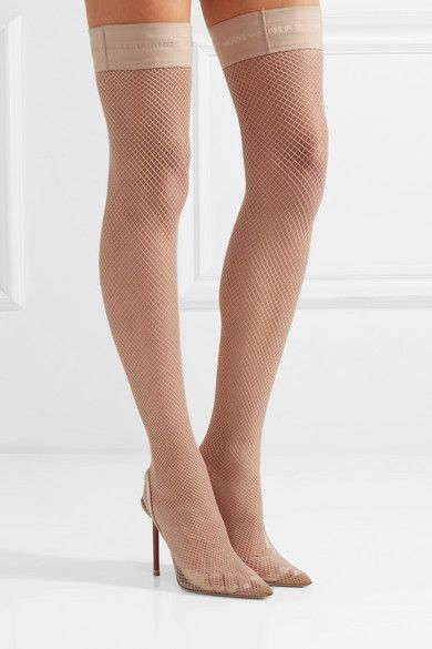 9aeddd36756 Alexander Wang - Cleo suede and leather-trimmed fishnet over-the ...