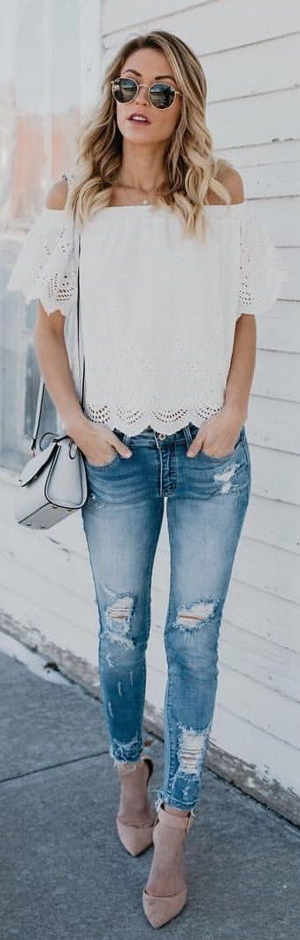 #winter #outfits white off-shoulder top. Pic by @vicidolls.