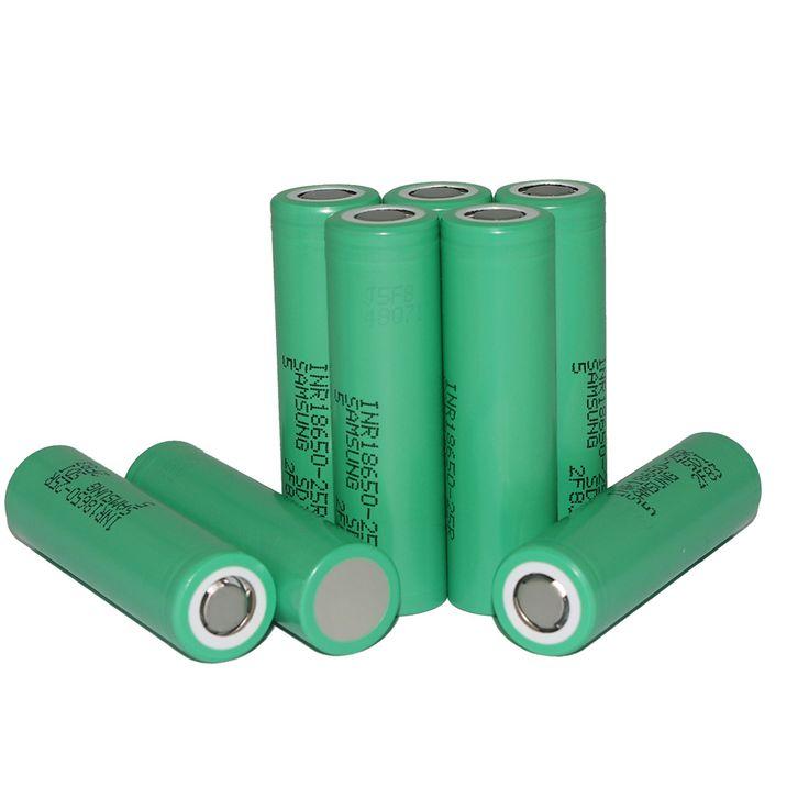 8pcs/lot for Samsung Original 18650 25R INR1865025R 20A discharge lithium batteries, 2500mAh electronic cigarette Power Battery