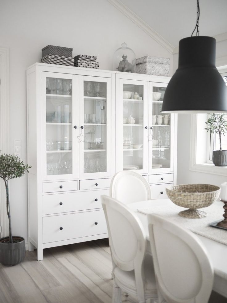 White Buffet Cabinet Glass Door — All Furniture