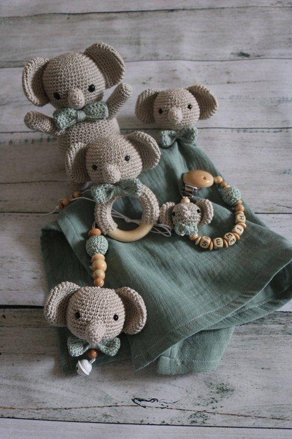 Baby Bowl pendant crocheted Elephant