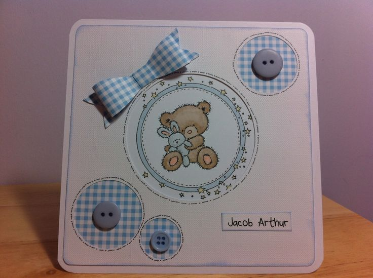 New baby card made with Lilly of the Valley stamp.  Circles and paper bow cut out using my Silhouette Cameo