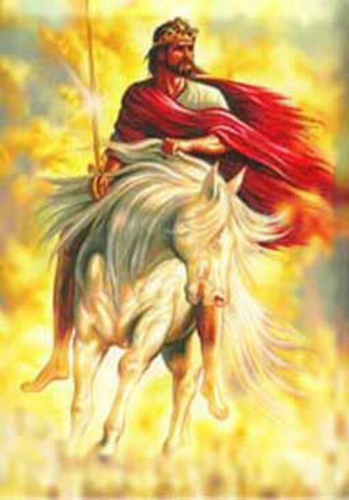 """I saw heaven opened, and look! a white horse. And the one seated on it is called Faithful and True, and he judges and carries on war in righteousness. ..On his outer garment, yes, on his thigh, he has a name written, King of kings and Lord of lords."" Revelation 19:11, 16. Jesus is a mighty king in heaven. Soon he will go forth to destroy God's enemies and usher in Paradise."