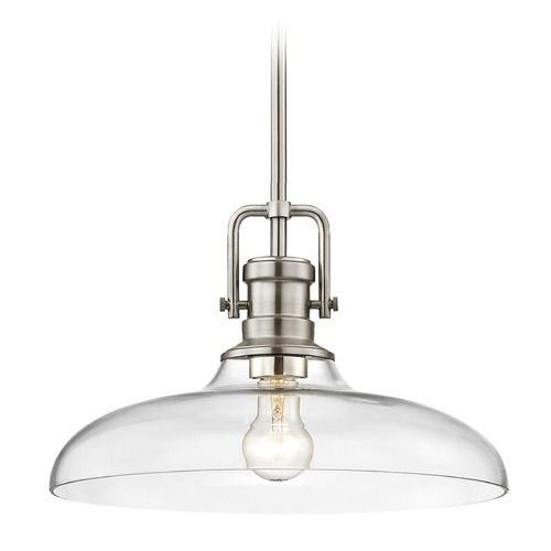 Industrial Clear Glass Pendant Light Satin Nickel 14-Inch Wide | 1763-09 G1784-CL | Destination Lighting