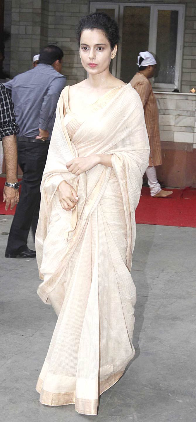 Sari for mourning. Kangana Ranaut at Madhur Bhandarkar's mother's prayer meet.
