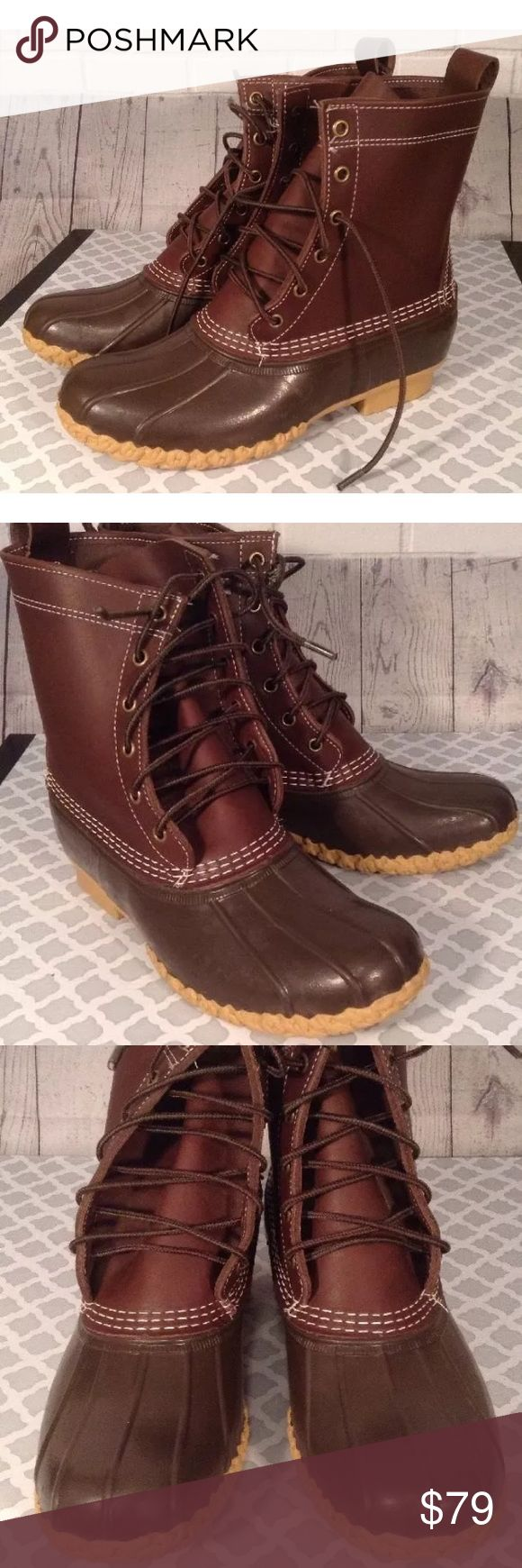 "LL Bean Boots Duck Brown Rubber Leather LL Bean Boots Duck Brown Rubber/Leather 8"" Thinsulate Men's 6M Women's 8M  Practically New, never worn outside LL Bean Shoes Winter & Rain Boots"
