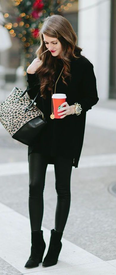 #winter #fashion / all black + panther print purse