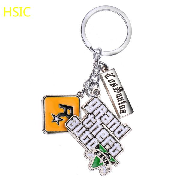 Classic PS4 GTA 5 Game keychain Grand Mens Theft Auto 5 Keychains Xbox PC Rockstar Key Ring Holder for  Christmas Gifts