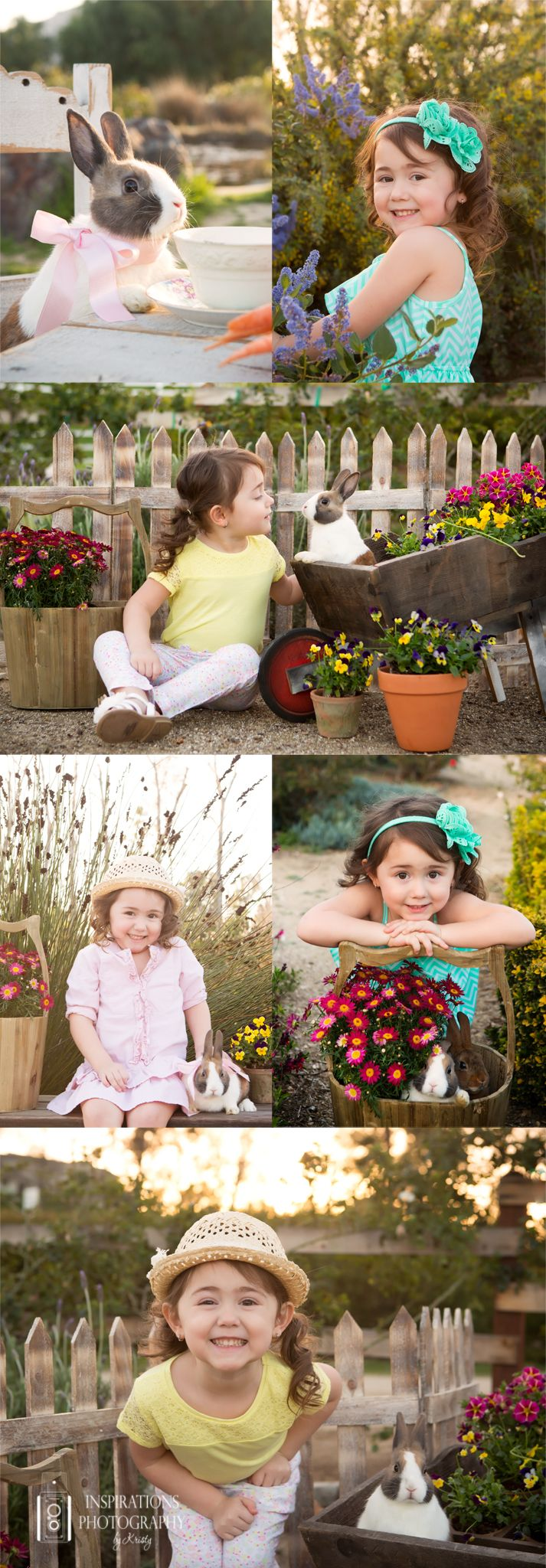 Spring photos, bunnies, Spring, flowers, outdoor photography, mini session, picket fence, Spring photography, Inspirations Photography by Kristy, Temecula, CA.