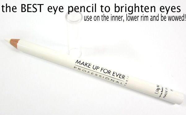 The easiest way to brighten and highlight eyes is with a white eye pencil. This eye pencil from MAKE UP FOR EVER is the best eye pencil to use on the inner, lower rim of the eyes. Use it and be wowed!
