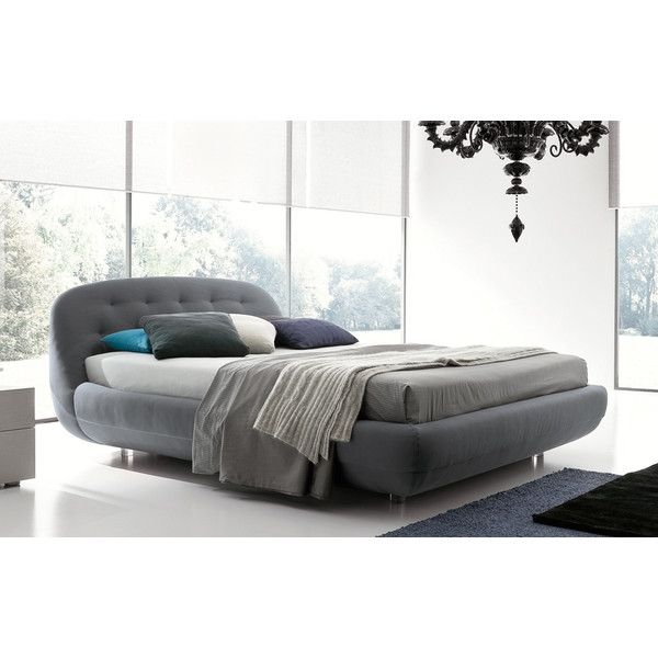 Rossetto Eclipse King Size Platform Bed in Grey Upholstery found on Polyvore featuring polyvore, home, furniture, beds, room, upholstered king bed, king size platform bed, upholstered bed, contemporary king bed and grey bed