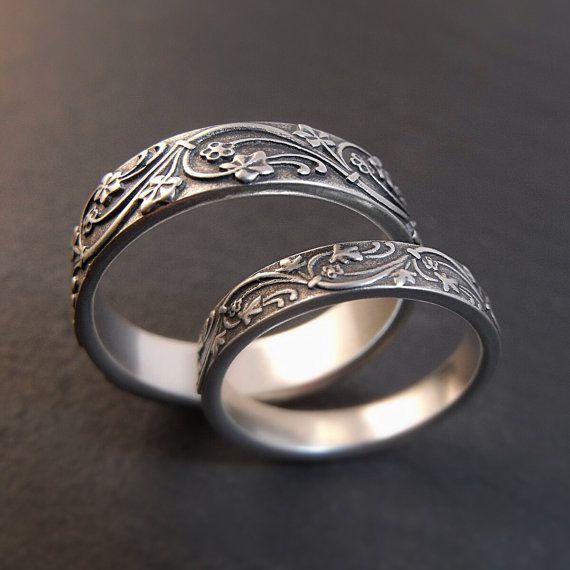 Wedding Band Set - Art Deco Ivy Wedding Rings in Sterling Silver - Handmade in Seattle