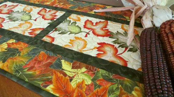 Quilted Fall Table Runner  Leaves of Autumn 500 by QuiltinWaYnE