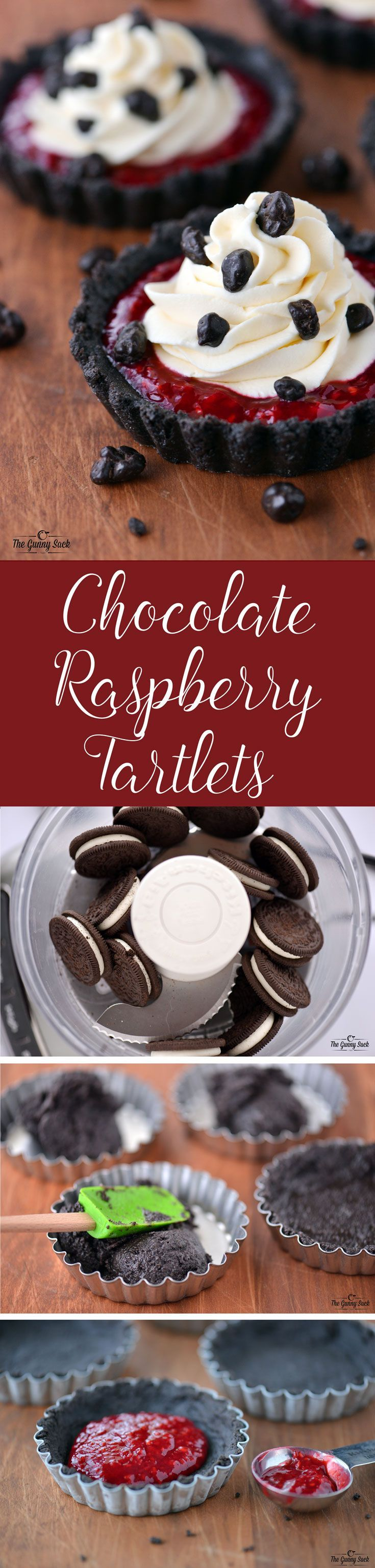 Gorgeous Chocolate Raspberry Tartlets recipe topped with cheesecake whipped cream! This dessert is perfect for Valentine's Day!