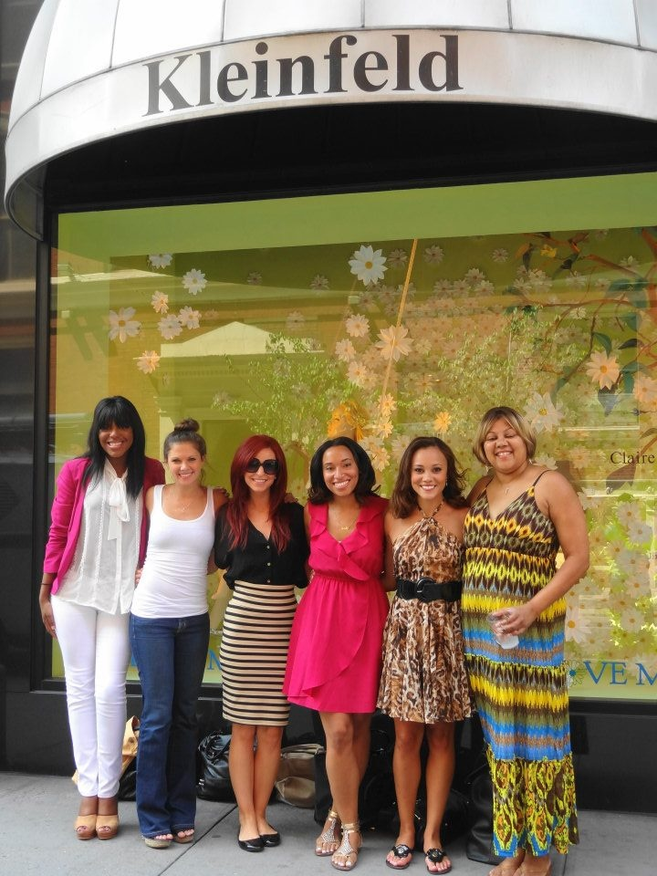 Ashley with her bridal party, Giovanna J, Danni Zuralow, maid of honor Haley Carter, Nyemale Iman and the mother of the bride Sheila Matthews, before heading inside the legendary bridal boutique.