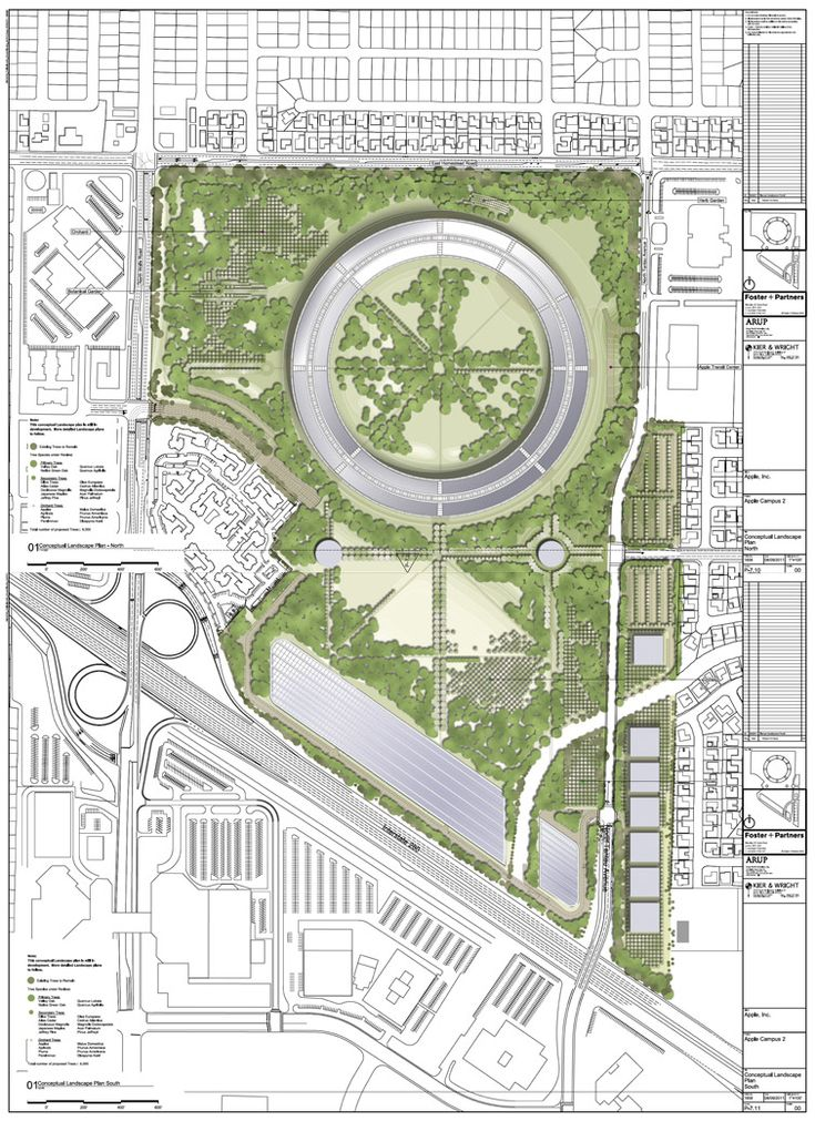 "Apple's planned new Cupertino HQ, shaped like a great circle. Its 2.8 million square feet of space will incorporate a fitness centre; a huge cafe; a 1,000 seat auditorium; 300,000 square feet of research facilities; the biggest single parking area in the city (all underground) and even its own power plant. The facility will house 13,000 employees and the entire area will be turned into a huge green park. 130.1 acres will be ""green areas"" and only 42.9 acres will be covered with buildings."