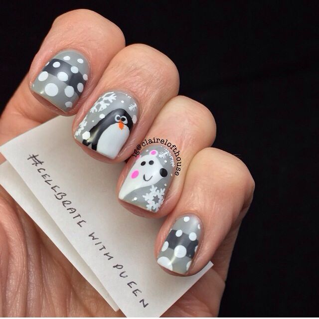 Penguin & polar bear nails