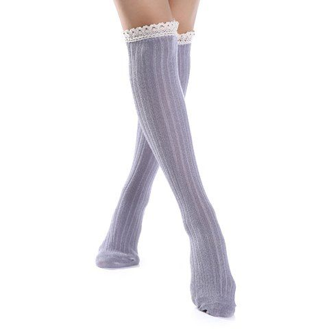 Pair of Chic Lace Edge Solid Color Winter Stockings For Women