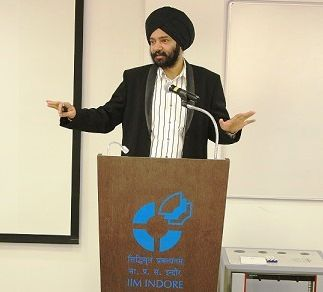 Harjeet Khanduja talking at IIM Indore