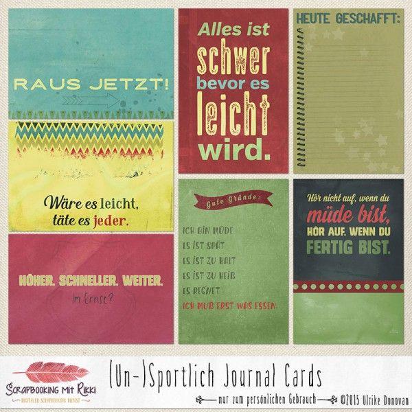 Deutschsprachige Journaling Karten zum Thema (Un-)sportlich