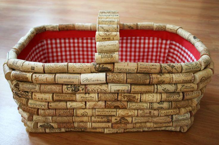 DIY cork-covered picnic basket