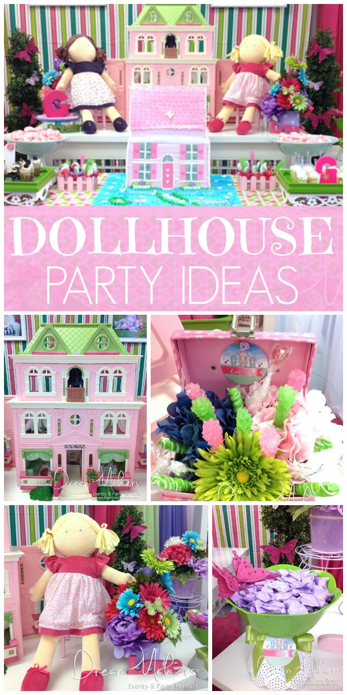 Check out  all the amazing party decorations at this dollhouse themed girl birthday party!  See more party ideas at CatchMyParty.com!